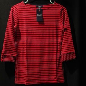 CHAPS STRIPED CUFF TOP SIZE XS - NEW WITH TAG
